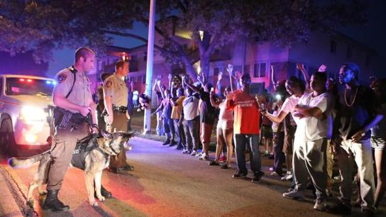 Michael-Brown-crowd-confronts-police-with-dogs