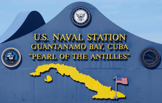 The main sign at  the U.S. Naval Station at Guantanamo Bay, Cuba