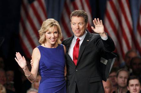 U.S. Senator Paul arrives with wife Kelley before announcing candidacy for president during an event in Louisville