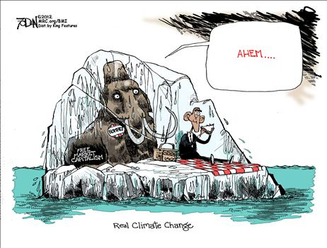 real climet change, obama cartoons