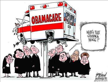 on trial obamacare, obama cartoons