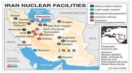 map of iran nuclear facilities
