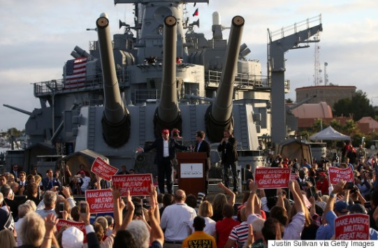 LOS ANGELES, CA - SEPTEMBER 15: Republican presidential candidate Donald Trump speaks during a campaign rally aboard the USS Iowa on September 15, 2015 in Los Angeles, California. Donald Trump is campaigning in Los Angeles a day ahead of the CNN GOP debate that will be broadcast from the Ronald Reagan Presidential Library in Simi Valley. (Photo by Justin Sullivan/Getty Images)