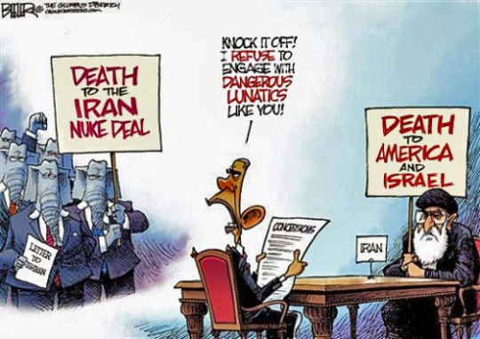 Obama GOP Khamenei Israel Iran Nuke Deal Cartoon