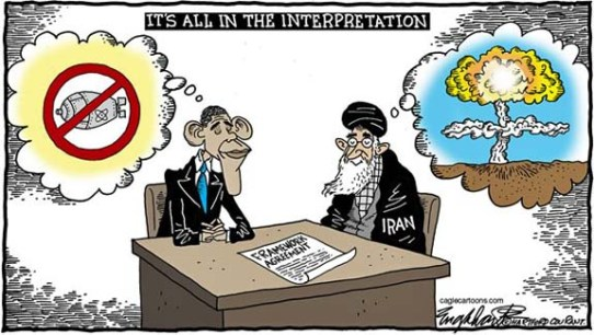 Obama Khamenei Interpretations Iran Nuclear Deal Cartoon