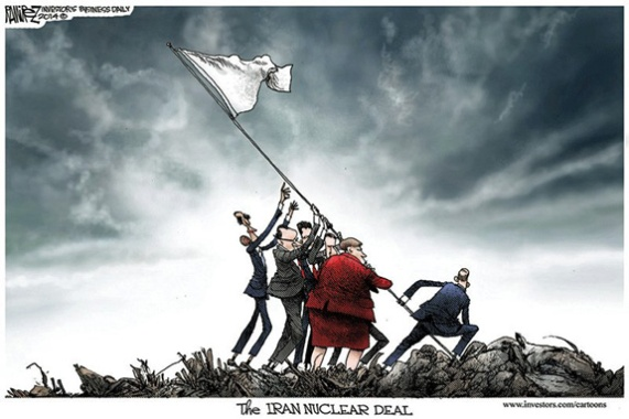 Obama White Surrender Flag of Our Fathers Iran Nuke Deal Cartoon