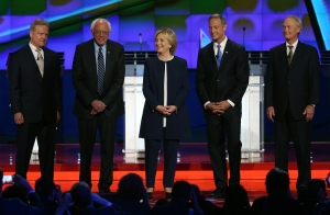 LAS VEGAS, NV - OCTOBER 13: (L-R) Democratic presidential candidates Jim Webb, U.S. Sen. Bernie Sanders (I-VT), Hillary Clinton, Martin O'Malley and Lincoln Chafee take the stage for a presidential debate sponsored by CNN and Facebook at Wynn Las Vegas on October 13, 2015 in Las Vegas, Nevada. The five candidates are participating in the party's first presidential debate. (Photo by Joe Raedle/Getty Images)