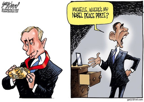 While Nobel Peace Prize winner, President Obama, contemplates whether to strike Syria, Russian President steals his thunder by proposing a diplomatic solution. Since Putin was recently accused of stealing an NFL championship ring, I thought pilfered something else.
