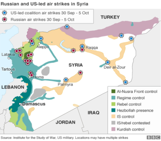 syria bombing by Russia and US map