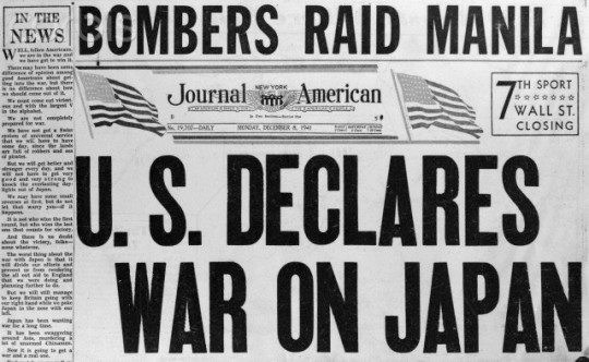 November 8, 1941 --- Original caption: These headlines were from a New York newspaper telling of the start of the American-Japanese war, December 7, 1941. --- Image by © Bettmann/CORBIS
