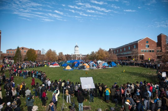 The tent city at the Concerned Students 1950 protest on Monday, Nov. 9 2015, in Columbia, Mo. Concerned Students 1950 is a group named after the first year that black students were allowed to attend MU. (Michael Cali/San Diego Union-Tribune/TNS) ORG XMIT: 1176357