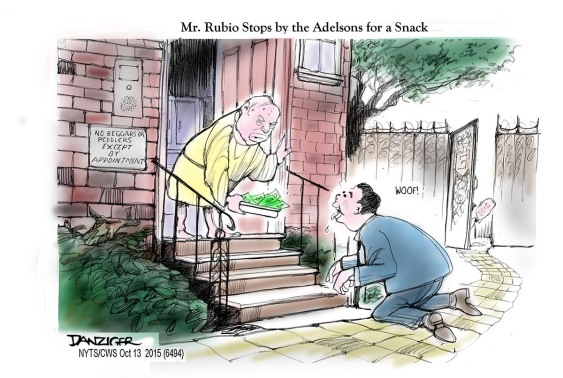 Marco Rubio, Seldon Adelson, campaign contribution, political cartoon