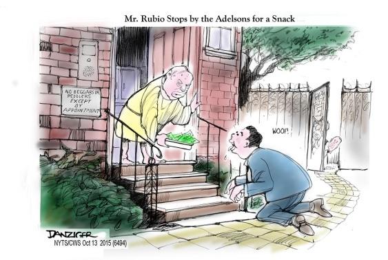 Marco Rubio, Seldon Adelson, campaign contribution, political cartoon