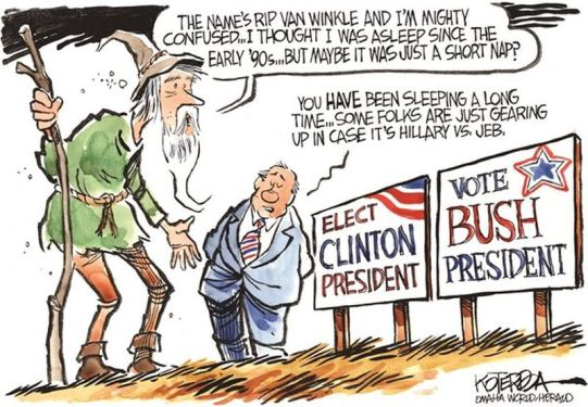 "Jeff Koterba cartoon for December 29, 2014 ""CLINTON BUSH CAMPAIGN."""