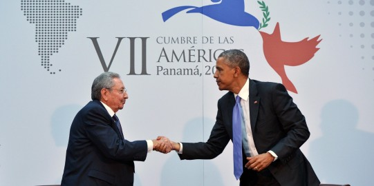 US President Barack Obama (R) shakes hands with Cuba's President Raul Castro (L) on the sidelines of the Summit of the Americas at the ATLAPA Convention Center on April 11, 2015 in Panama City. AFP PHOTO/MANDEL NGAN (Photo credit should read MANDEL NGAN/AFP/Getty Images)