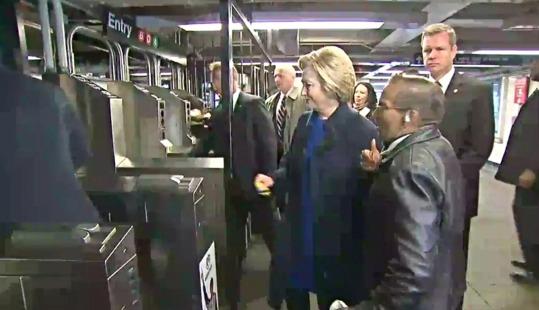 clinton enters subway