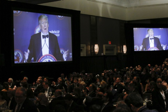 NEW YORK, NY - APRIL 14: Republican presidential candidate Donald Trump speaks during the 2016 annual New York State Republican Gala on April 14, 2016 in New York City. Donald Trump, Senator Ted Cruz of Texas and Gov. John R. Kasich of Ohio take part in a fund-raiser for the state Republican Party, being the first time they are seen together since they decided to abandon the so-called loyalty pledge they signed last year to support whoever becomes the party nominee. (Photo by Eduardo Munoz Alvarez/Getty Images)