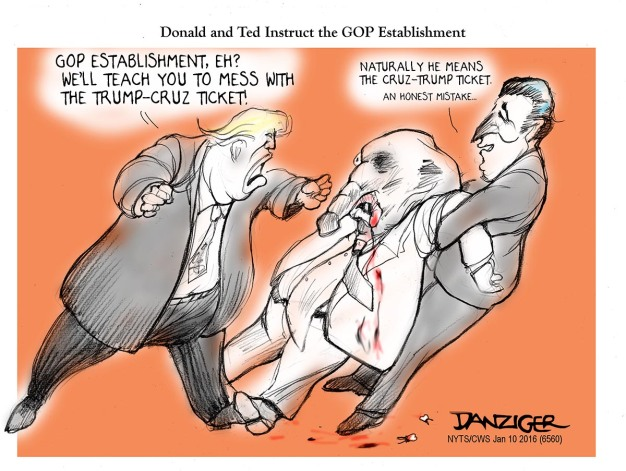 Trump, Cruz, GOP establishment, political cartoon