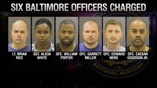 Six Baltimore, Maryland police officers, Lt. Brian Rice, Sgt. Alicia White, Ofc. William Porter, Ofc. Garrett Miller, Ofc. Edward Nero and Ofc. Caesar Goodson Jr. were charged in the death of Freddie Gray. Gray was arrested by Baltimore police on April 12, 2015 and died on April 19.