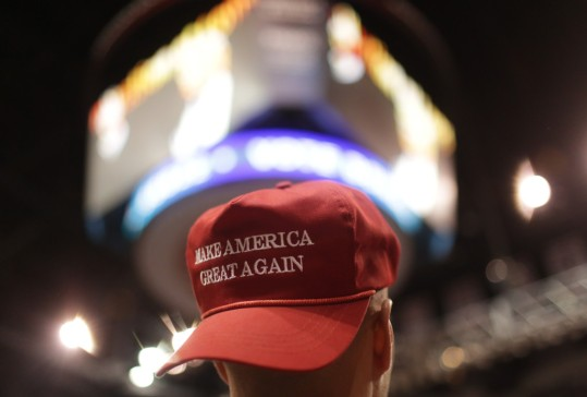 A supporter wears a Make America Great Again hat during a campaign rally for Republican presidential candidate Donald Trump on Monday, April 25, 2016, in Wilkes-Barre, Pa. (Jake Danna Stevens/The Times-Tribune via AP) WILKES-BARRE TIMES-LEADER OUT; MANDATORY CREDIT