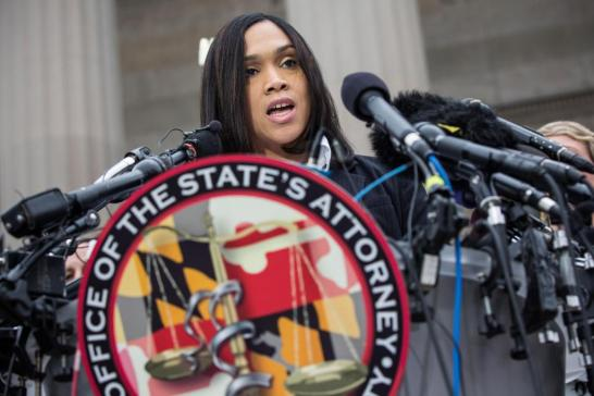 BALTIMORE, MD - MAY 01: Baltimore City State's Attorney Marilyn J. Mosby announces that criminal charges will be filed against Baltimore police officers in the death of Freddie Gray on May 1, 2015 in Baltimore, Maryland. Gray died in police custody after being arrested on April 12, 2015. (Photo by Andrew Burton/Getty Images)