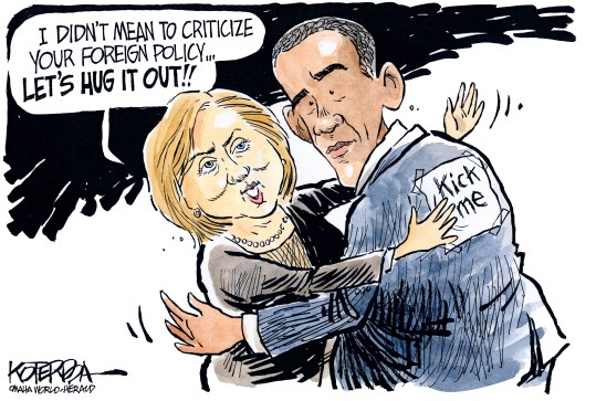 "Jeff Koterba cartoon for August 15, 2014 ""Obama Hillary Clinton campaign foreign policy"""