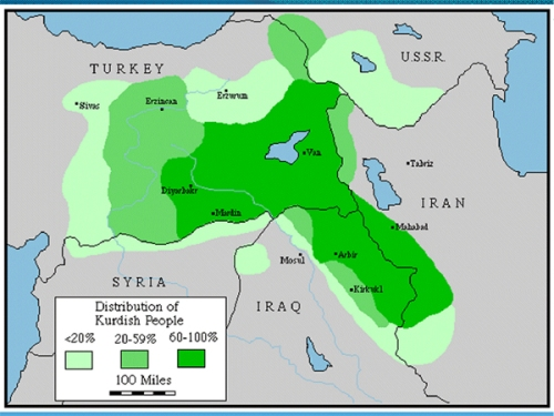 Image result for map showing where there are kurds